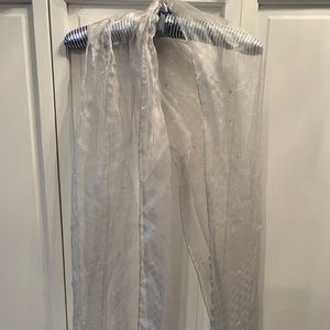 Sheer silver beaded wrap